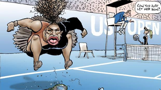 Vignetta di Serena Williams arrabbiata