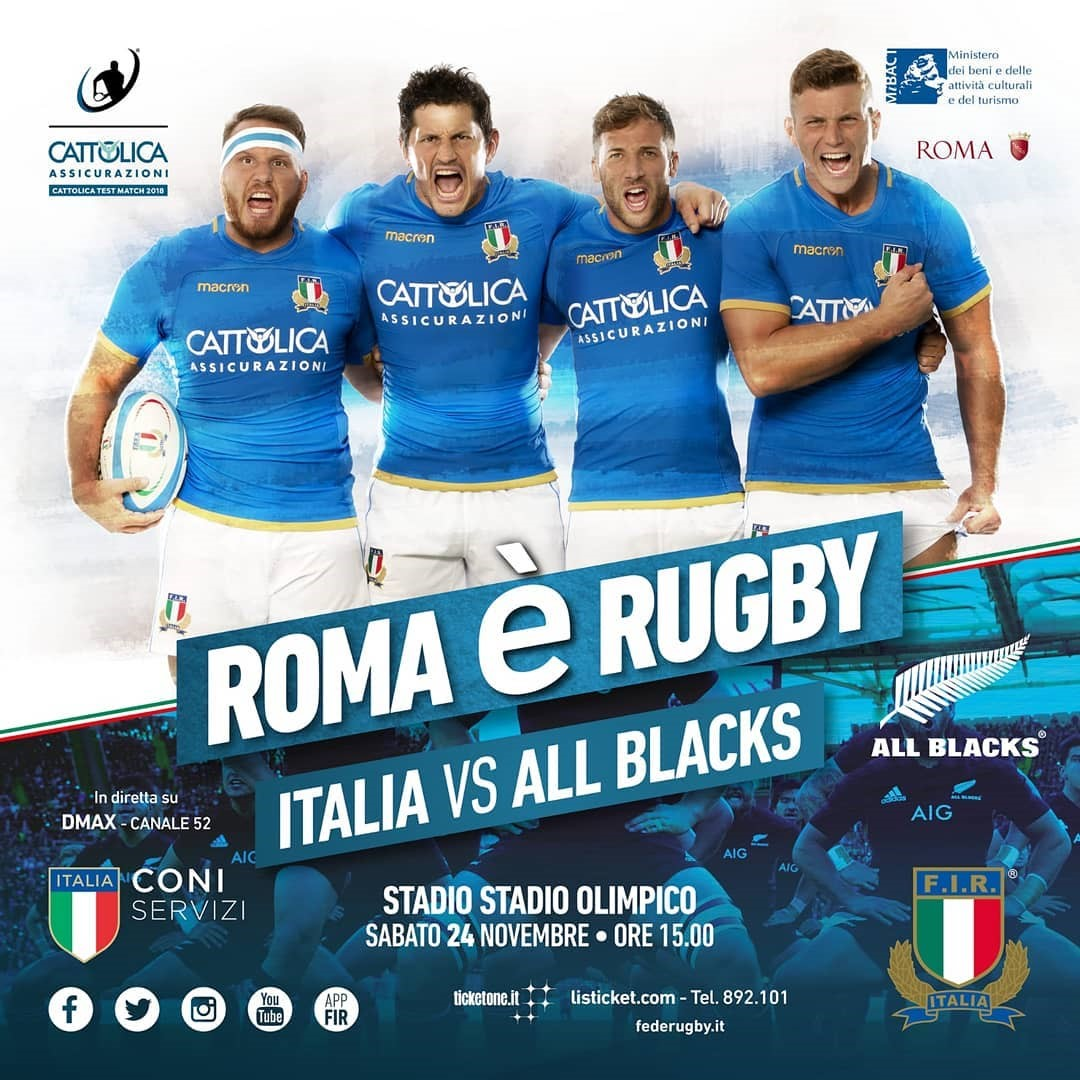 All Blacks VS Italia, sabato 24 Novembre a Roma. Locandina